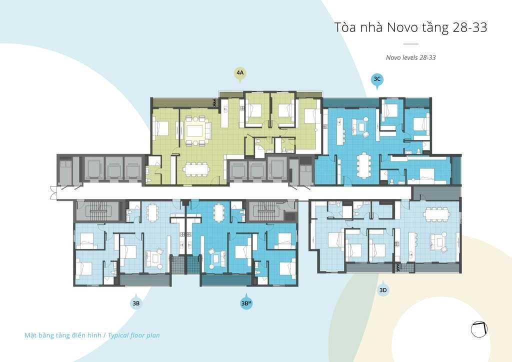 mặt bằng căn hộ tầng 28- tầng 33 toà NOVO chung cư Kosmo Tây Hồ